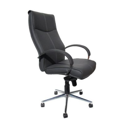 An Image of Luxury Home Office Chair In Grey Faux Leather With Castors