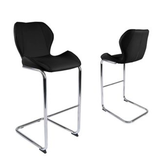 An Image of Kimberly Bar Stools In Black Faux Leather In A Pair