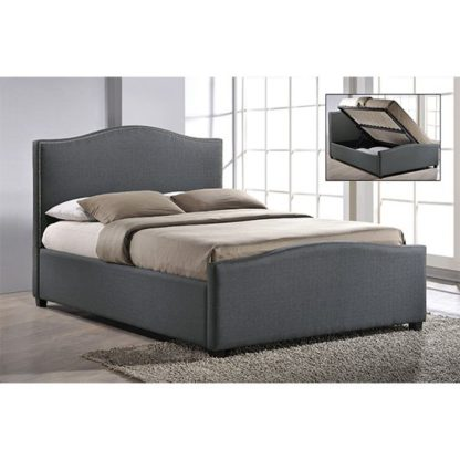 An Image of Brunswick Fabric Storage Ottoman Double Bed In Grey