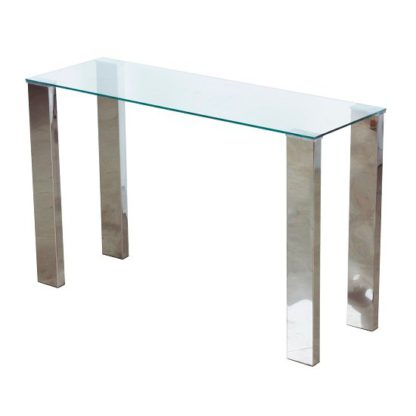 An Image of Splash Console Table Rectangular In Clear Glass With Chrome Legs