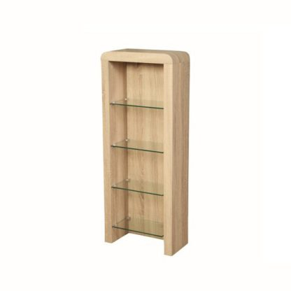 An Image of Cannock Wooden CD DVD Storage Unit In Sonoma Oak