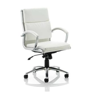 An Image of Olney Bonded Leather Office Chair In White With Medium Back