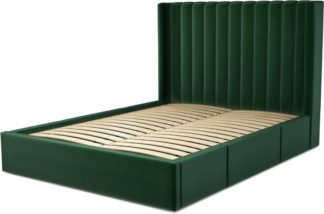 An Image of Custom MADE Cory King size Bed with Drawers, Bottle Green Velvet