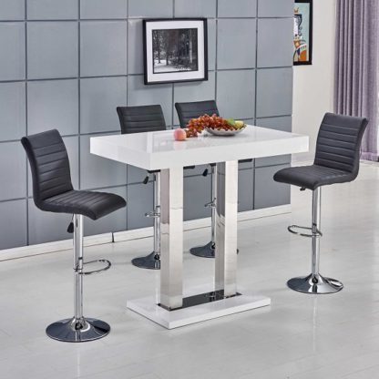 An Image of Caprice Bar Table In White Gloss With 4 Ripple Black Bar Stools