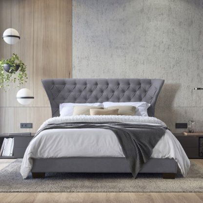 An Image of Georgia Fabric Double Bed In Grey