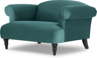 An Image of Claudia Loveseat, Peacock Blue Velvet