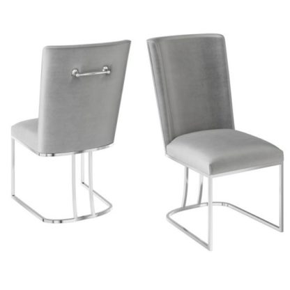 An Image of Ivana Silver Grey Velvet Fabric Dining Chairs In Pair
