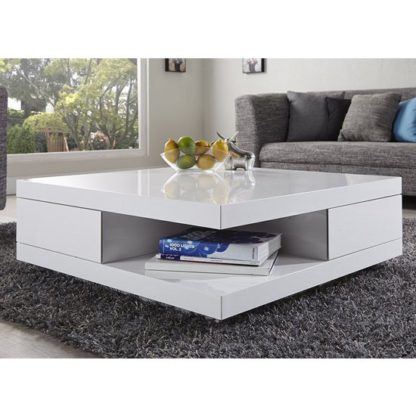 An Image of Abbey Coffee Table High Gloss White With 2 Pull Out Drawers