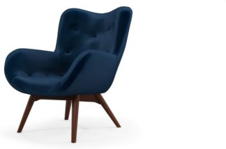 An Image of Custom MADE Doris Accent Armchair, Regal Blue Velvet with Dark Wood Legs