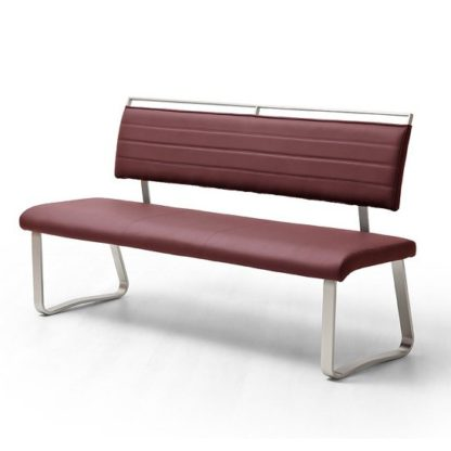 An Image of Scala Dining Bench In Bordeaux PU And Brushed Stainless Steel