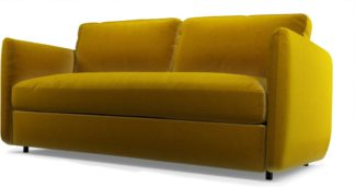 An Image of Custom MADE Fletcher 3 Seater Sofabed with Memory Foam Mattress, Saffron Yellow Velvet