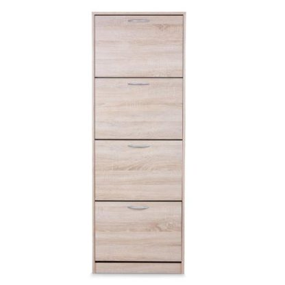 An Image of Alcott Contemporary Shoe Cabinet In Sonoma Oak With 4 Doors