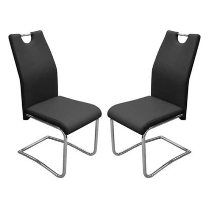 An Image of Capella Black Faux Leather Dining Chair In Pair