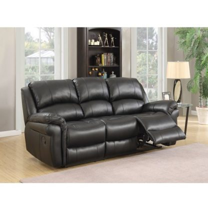 An Image of Claton Recliner 3 Seater Sofa In Black Faux Leather