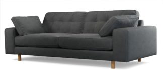 An Image of Content by Terence Conran Tobias, 3 Seater Sofa, Plush Shadow Grey Velvet, Light Wood Leg