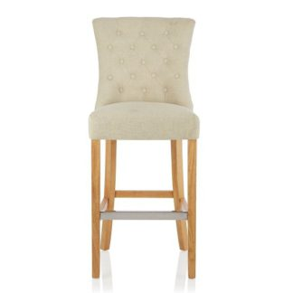 An Image of Marlon Bar Stool In Cream Fabric With Oak Legs