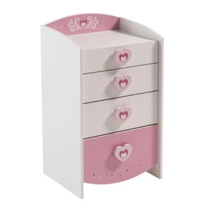 An Image of Betsy Chest Of Drawers In Pearl White And Pink With 4 Drawers