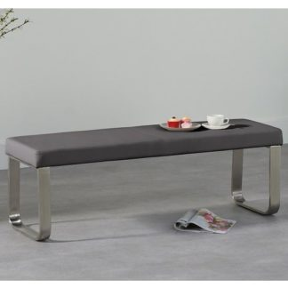 An Image of Washington Medium Dining Bench In Grey Faux Leather