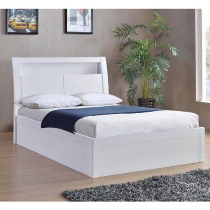 An Image of Riano Storage Double Bed In White High Gloss