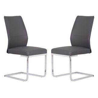 An Image of Presto Dining Chair In Grey Faux Leather In A Pair