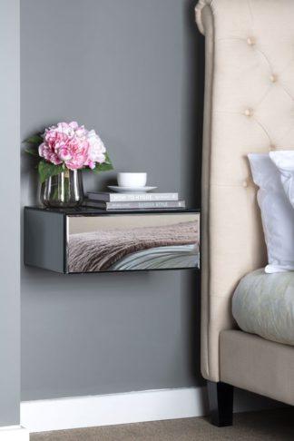An Image of Inga Smoke mirror Floating Bedside / Console / Shelf / Storage System