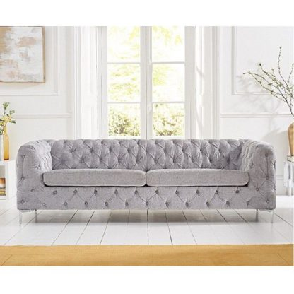 An Image of Sabine Velvet Three Seater Sofa In Plush Grey With Metal Legs