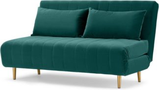 An Image of Bessie Large Double Sofa Bed, Seafoam Blue Velvet
