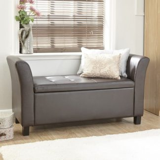 An Image of Charter Ottoman Seat In Brown Faux Leather With Wooden Feet
