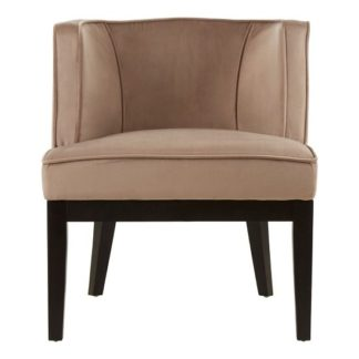 An Image of Adalinise Rounded Velvet Upholstered Bedroom Chair In Brown