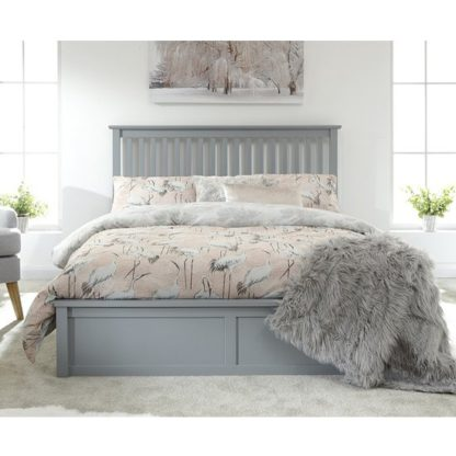An Image of Como Wooden Ottoman King Size Bed In Grey