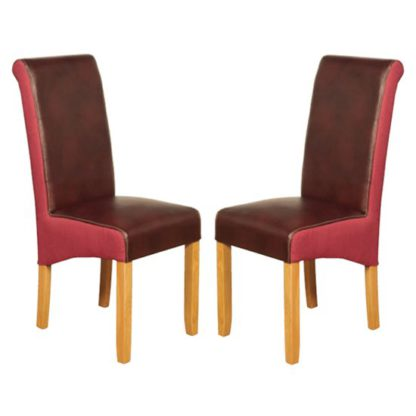 An Image of Charlene Burgundy And Plum Leather Dining Chair In Pair