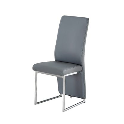 An Image of Ebony Dining Chair In Grey Faux Leather With Chrome Base