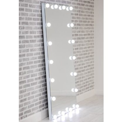 An Image of Hollywood Floor Dressing Mirror With White High Gloss Frame