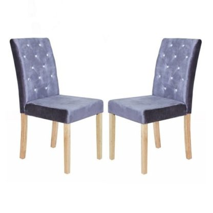 An Image of Kilcon Dining Chair In Silver Velvet And Diamante in A Pair