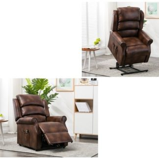 An Image of Curtis Rise And Recliner Sofa Chair In Tan Faux Leather