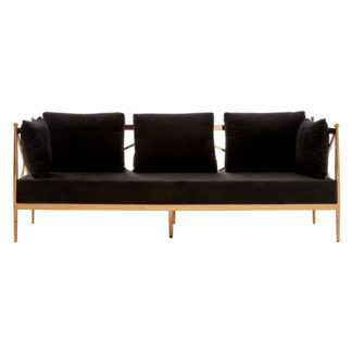 An Image of Kurhah 3 Seater Sofa In Black With Rose Gold Lattice Arms