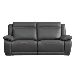 An Image of Baxter Recliner 3 Seater Sofa In Dark Grey Leather Air Fabric