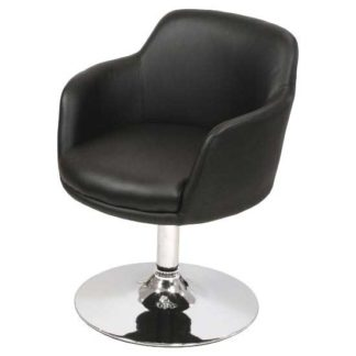 An Image of Bucketeer Bar Chair In Black Faux Leather With Chrome Base