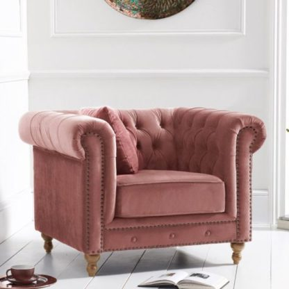 An Image of Propus Plush Fabric Lounge Chaise Armchair In Blush