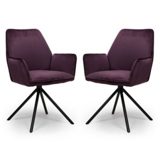 An Image of Uno Mulberry Velvet Fabric Dining Chairs In A Pair
