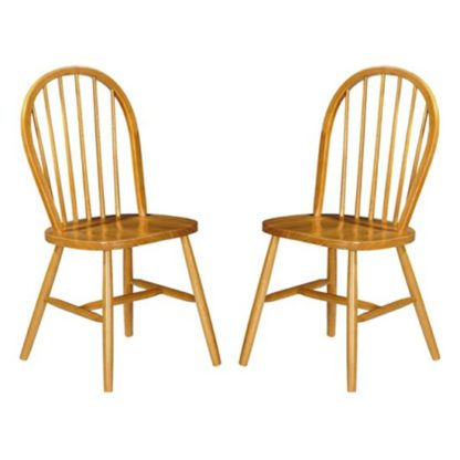 An Image of Windsor Honey Lacquered Wooden Dining Chairs In Pair
