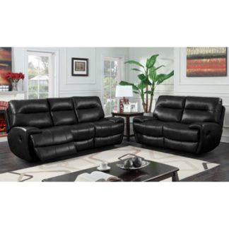 An Image of Orionis Recliner 2 Seater And 3 Seater Sofa Suite In Black