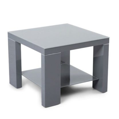 An Image of Alford Glass Side Table Square With Dark Grey High Gloss