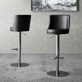 An Image of Bruno Black Faux Leather Gas-lift Bar Stools In Pair