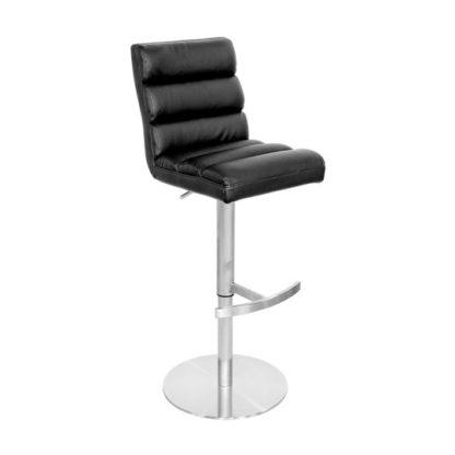 An Image of Bianca Black Leather Bar Stool With Stainless Steel Base
