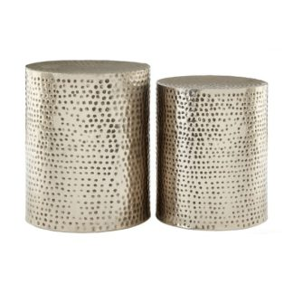 An Image of Zephir Set Of 2 Stools Round In Antique Nickel