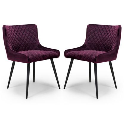 An Image of Malmo Mulberry Velvet Fabric Dining Chair In A Pair