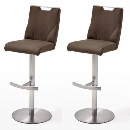 An Image of Jiulia Brown Leather Bar Stool In Pair With Steel Base