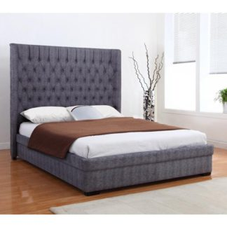 An Image of Genesis Linen Fabric King Size Bed In Dark Grey
