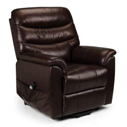 An Image of Pullman Dual Motor Leather Rise And Recline Chair In Brown
